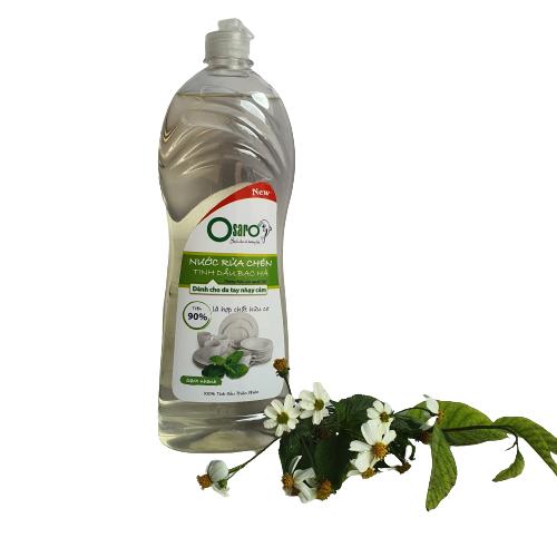 nước rửa chén cho da nhay cảm tinh dầu bạc hà 900ml